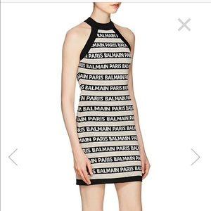 BALMAIN Logo-Striped Linen-Blend Sleeveless Dress